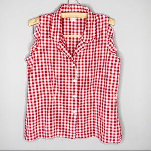 The Limited sleeveless ruffle blouse red checker L